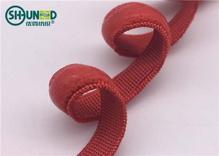 Red Garments Accessories Silicone Coating Elastic Tape Bands With Customizable Widths